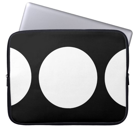 White Circles on Black Computer Sleeve