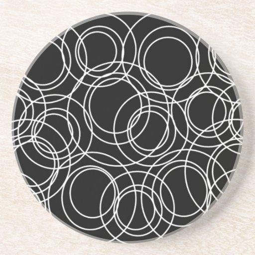 White Circles on Black Drink Coaster