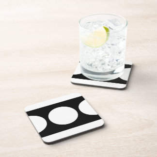 White Circles on Black Drink Coasters