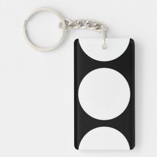 White Circles on Black Rectangle Acrylic Key Chain