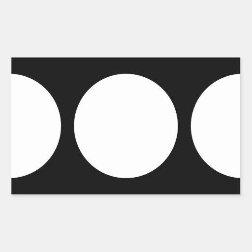 White Circles on Black Rectangular Sticker