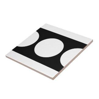 White Circles on Black Small Square Tile
