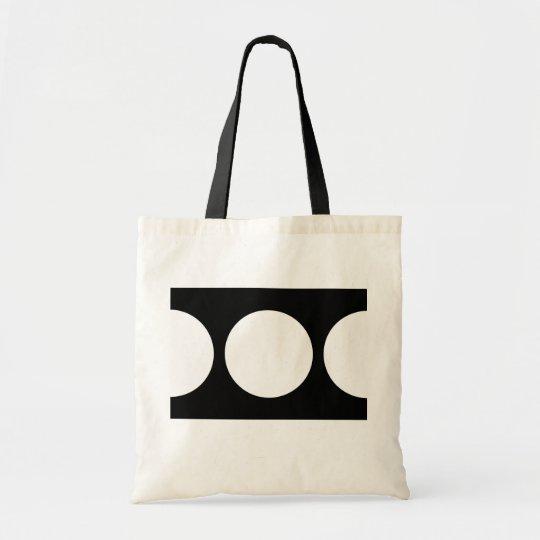 White Circles on Black Tote Bag