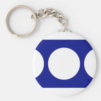 White Circles on Blue Basic Round Button Keychain
