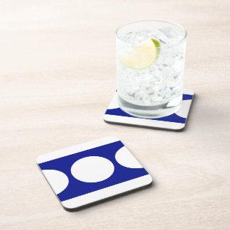 White Circles on Blue Drink Coaster