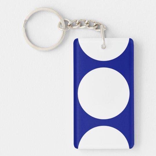 White Circles on Blue Keychain