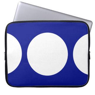 White Circles on Blue Laptop Sleeve