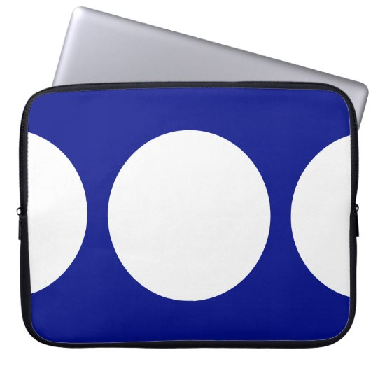 White Circles on Blue Laptop Sleeve