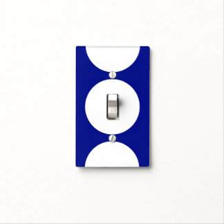 White Circles on Blue Light Switch Cover