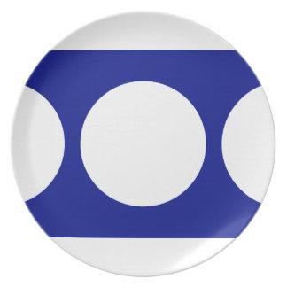 White Circles on Blue Melamine Plate