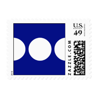White Circles on Blue Postage Stamps