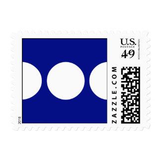White Circles on Blue Stamp