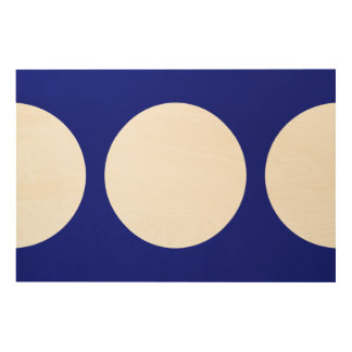 White Circles on Blue Wood Wall Decor