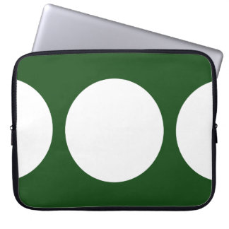 White Circles on Green Computer Sleeves