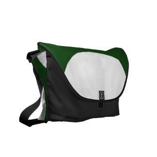 White Circles on Green Courier Bags