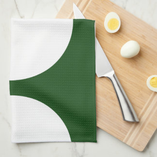 White Circles on Green Hand Towel