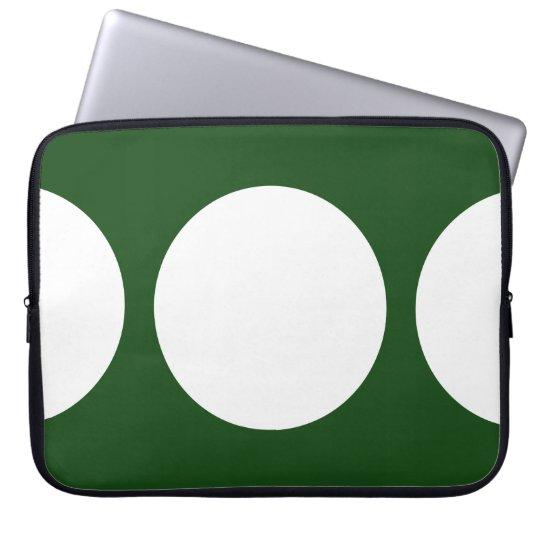 White Circles on Green Laptop Sleeve