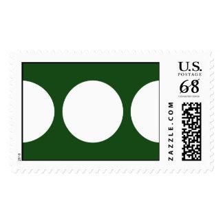 White Circles on Green – Large Postage Stamp