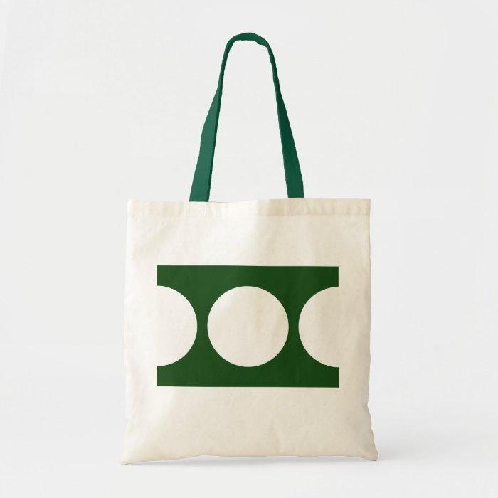 White Circles on Green Tote Bag