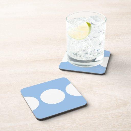 White Circles on Light Blue Beverage Coaster