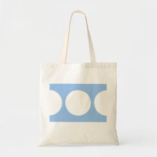 White Circles on Light Blue Budget Tote Bag