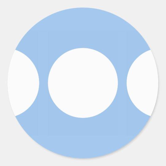 White Circles on Light Blue Classic Round Sticker