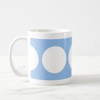 White Circles on Light Blue Coffee Mug