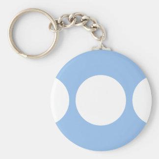 White Circles on Light Blue Basic Round Button Keychain
