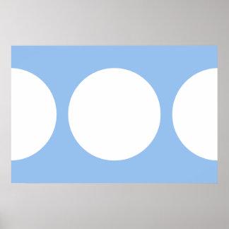 White Circles on Light Blue Poster
