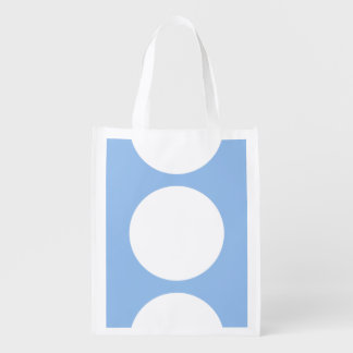 White Circles on Light Blue Reusable Grocery Bag