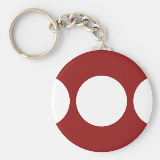 White Circles on Red Keychain