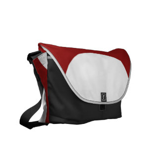 White Circles on Red Messenger Bags