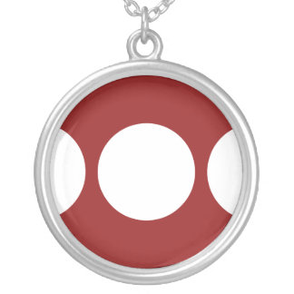 White Circles on Red Round Pendant Necklace