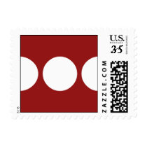 White Circles on Red – Small Postage