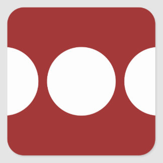 White Circles on Red Square Stickers