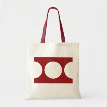 White Circles on Red Tote Bag