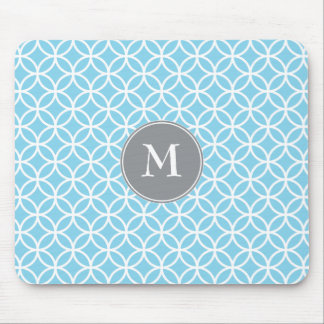 White Circles Overlapping Pattern Baby Blue Backgr Mouse Pad