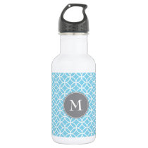 White Circles Overlapping Pattern Baby Blue Backgr Stainless Steel Water Bottle