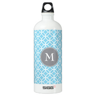 White Circles Overlapping Pattern Baby Blue Backgr Water Bottle