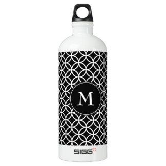White Circles Overlapping Pattern Black Background Aluminum Water Bottle