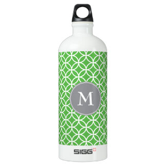 White Circles Overlapping Pattern Green Background Aluminum Water Bottle