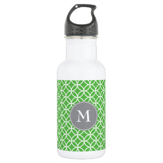 White Circles Overlapping Pattern Green Background Water Bottle