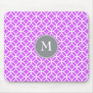 White Circles Overlapping Pattern Pink Background. Mousepad