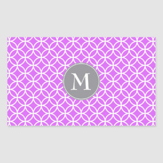 White Circles Overlapping Pattern Pink Background. Rectangular Sticker