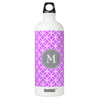 White Circles Overlapping Pattern Pink Background. Water Bottle