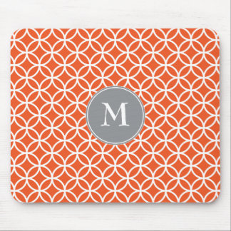 White Circles Overlapping Pattern Red Background Mousepads