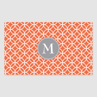 White Circles Overlapping Pattern Red Background Rectangular Sticker