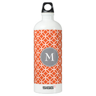 White Circles Overlapping Pattern Red Background Water Bottle