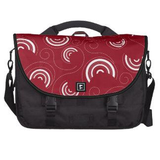White Circles Pattern on Red Laptop Computer Bag