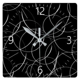White circles pattern square wall clock